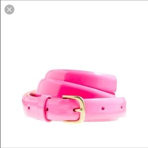 J. Crew hot pink patent leather skinny belt